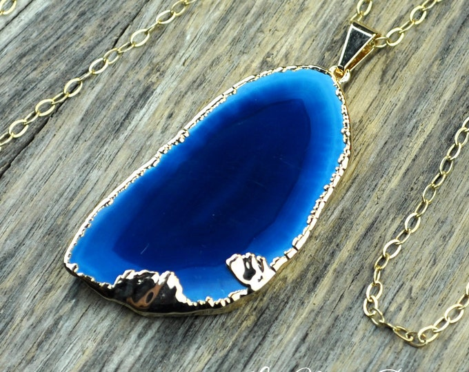 Agate Necklace, Teal Agate Necklace, Blue Agate, Agate Slice, Agate Pendant, Agate Slice Necklace, Agate Gold Necklace, 14k Gold Fill Chain