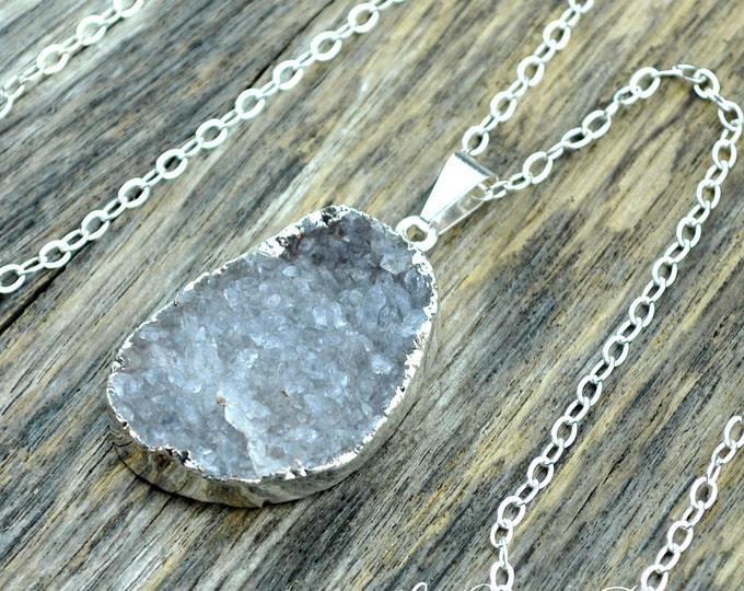 Druzy Necklace, Druzy Pendant, Druzy Jewelry, Silver Druzy, Gray Druzy, Light Gray Druzy, Sterling Silver Chain, Druzy Stone, Druzy Crystal