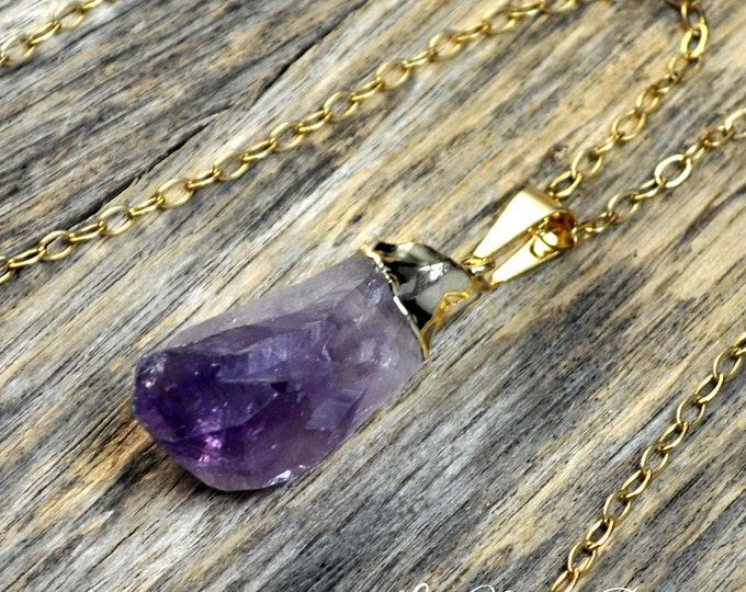 Amethyst Necklace, Amethyst Pendant, Gold Amethyst, Amethyst Pendant, Pendant, Raw Amethyst. Amethyst Point, Purple Amethyst, 14k Gold Fill