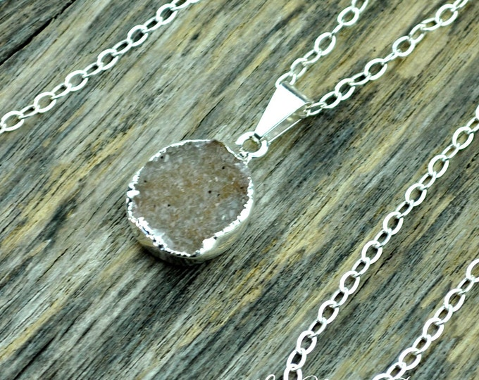 Druzy Necklace, Druzy Pendant, Druzy Jewelry, Silver Druzy, Orange Druzy, Pale Druzy, Sterling Silver Chain, Small Druzy, Druzy Crystal