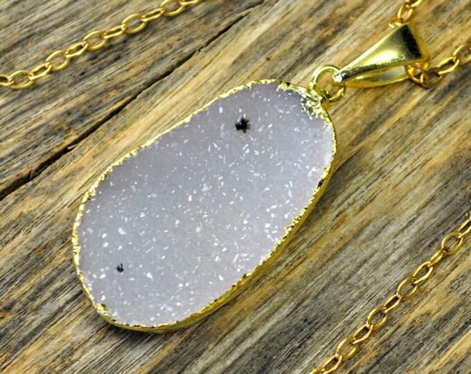 Large Druzy Necklace, Large Druzy Pendant, Druzy Jewelry, Gold Druzy Necklace, Gold Druzy Pendant, 14k Gold Fill Chain