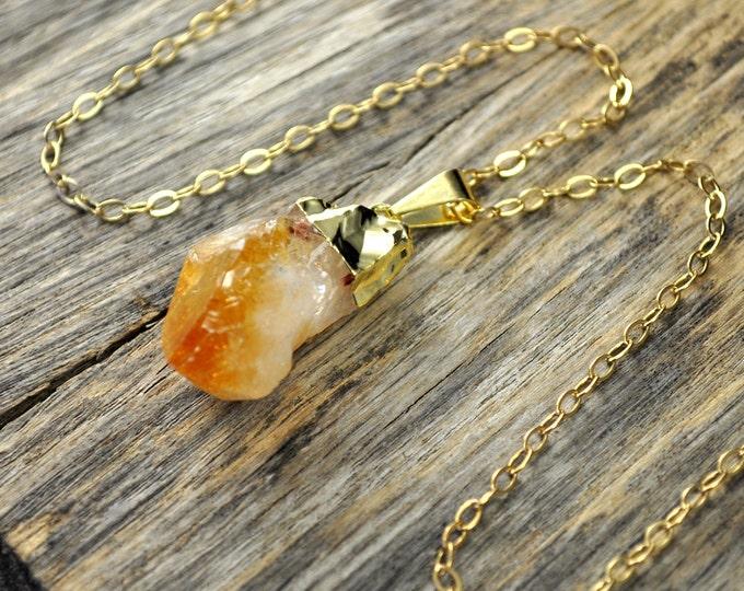 Citrine Necklace, Citrine Pendant, Citrine Gold Necklace, Raw Citrine Point Necklace, 14k Gold Fill Chain