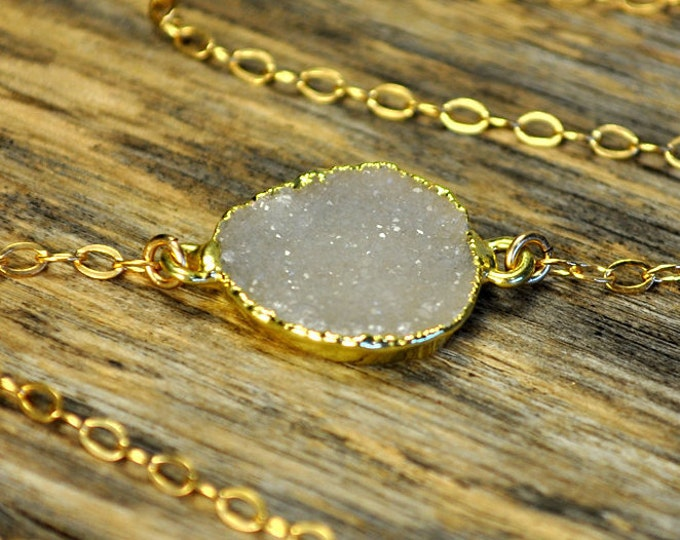 Druzy Necklace, Druzy Pendant, Druzy Jewelry, Druzy Connector Necklace, Druzy Bezel Necklace, Natural Druzy, White Druzy,14K Gold Fill Chain