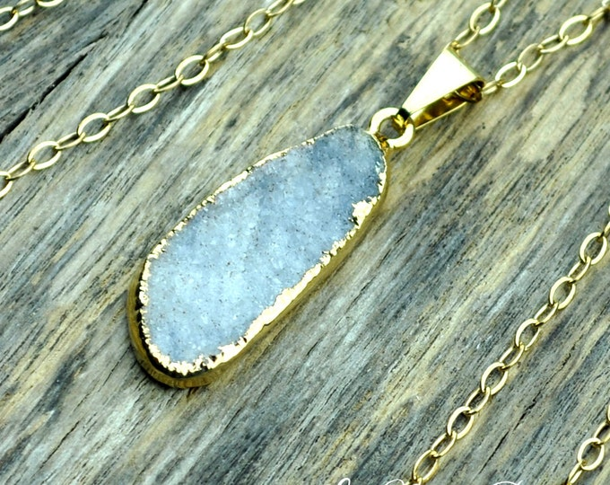 Druzy Necklace, Druzy Pendant, White Druzy, Gray Druzy, Gold Druzy, Natural Druzy, Druzy Crystal, Druzy Stone, Druzy, 14k Gold Fill Chain