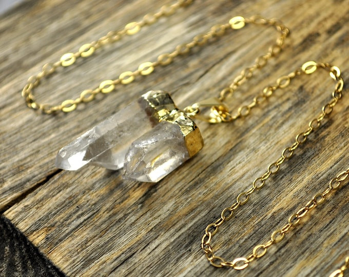 Crystal Necklace, Double Crystal Necklace, Double Crystal Pendant, Two Crystal Point Necklace, Two Clear Crystal Point, 14k Gold Fill Chain