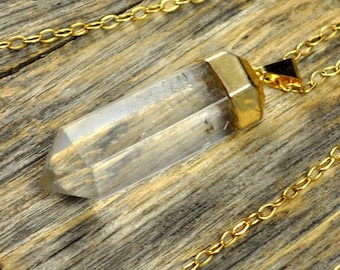 Crystal Necklace, Crystal Pendant Necklace, Crystal Gold Necklace, Straight Crystal Point Necklace, 14k Gold Filled