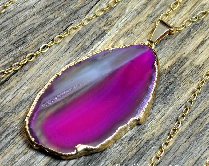 Agate Necklace, Pink Agate, Agate Pendant, Agate Slice, Gold Agate, Agate Stone, Hot Pink Agate, Stone Necklace, Agate, 14k Gold Fill Chain