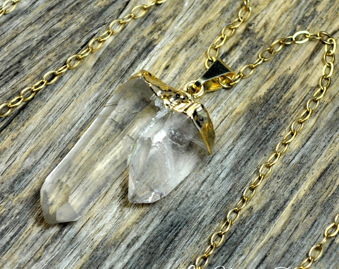 Crystal Necklace, Double Crystal, Crystal Pendant, Gold Crystal, Two Crystal, Crystal Point, Clear Crystal, Crystal, 14k Gold Fill Chain