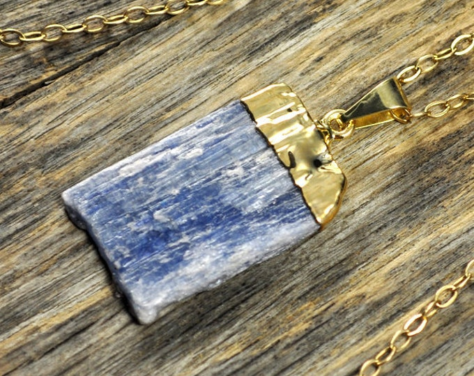 Kyanite Necklace, Kyanite Pendant, Kyanite Gold Necklace, Kyanite Stone Necklace, Kyanite Stone Pendant,Kyanite Jewelry, 14k Gold Fill Chain