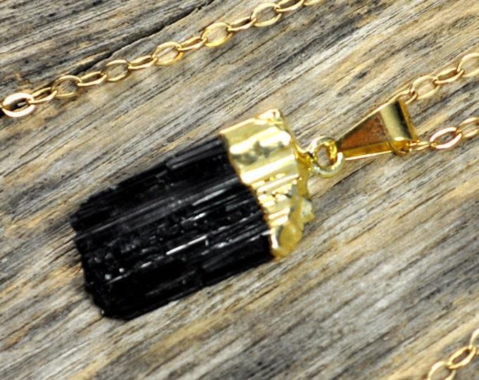 Tourmaline Necklace, Tourmaline Pendant, Tourmaline Gold Necklace, Black Tourmaline Necklace, Black Tourmaline Pendant, 14k Gold Fill Chain