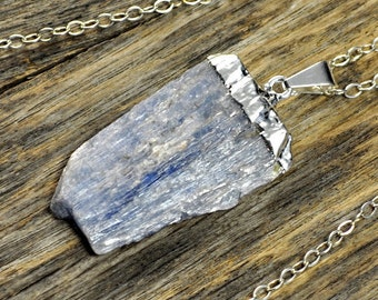 Kyanite Necklace, Kyanite Pendant, Kyanite Silver Necklace, Kyanite Stone Necklace, Kyanite Stone Pendant, Kyanite Sterling Silver Chain