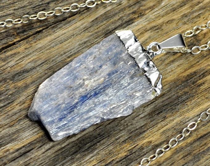 Kyanite Necklace, Kyanite Pendant, Kyanite Silver Necklace, Kyanite Stone Necklace, Kyanite Stone Pendant, Kyanite Sterling Silver Chain
