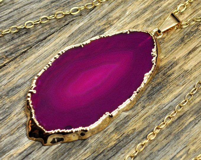 Agate Necklace, Hot Pink Agate Necklace, Agate Slice Pendant, Agate Jewelry, Agate Slice Necklace, Agate Gold Necklace, 14k Gold Fill