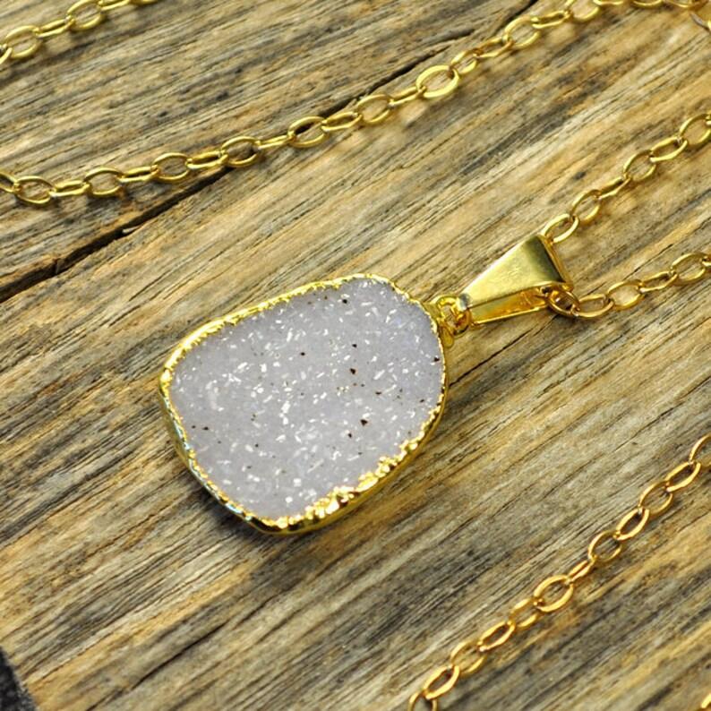 Small Druzy Necklace Small Druzy Pendant Druzy Jewelry Gold image 0