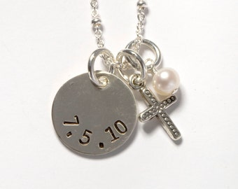 Silver Date/Name & Cross Necklace