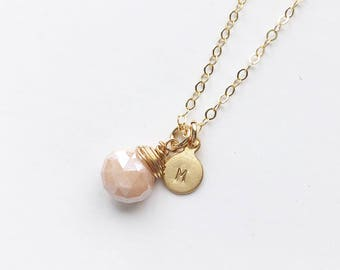 Small Initial & Pink Moonstone