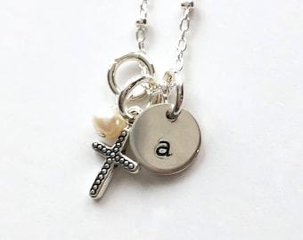 "Silver Initial ""Tabby"", Cross & Pearl"