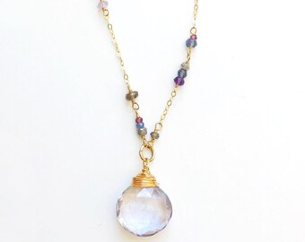 """Helena"" Long Gemstone Necklace"