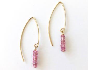 Pink Gemstone Earrings, Pink Earrings, Pink Sapphire Jewelry, Long Gold Earrings, Delicate Gold Earrings, Pink Sapphire Earrings, Gemstone