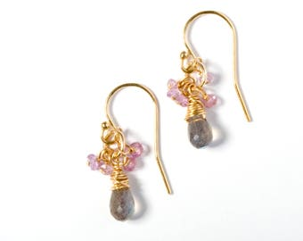 Cluster Earrings, Gold Cluster Earrings, Gemstone Earrings, Gemstone Cluster Earrings, Pink Sapphire Earrings, Labradorite Earrings, Pink