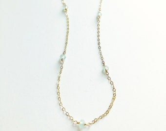Delicate Gold Necklace, Layering Necklace, Gold Layering Necklace, Delicate Gemstone Necklace, Mint, Mint Jewelry, Gemstone Necklace, Gold