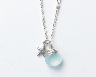 Dainty Silver Necklace, Silver Starfish Necklace, Starfish Necklace Silver, Aqua Gemstone, Silver Starfish, Beach Necklace, Chalcedony, Gem
