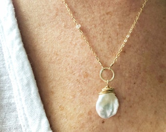 """Keshi Pearl Camille Necklace, """"Linen"""" Collection"""