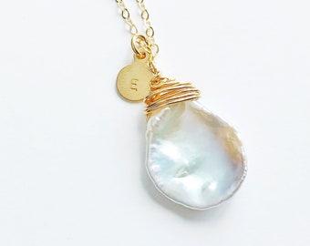 Keshi Pearl Initial Necklace