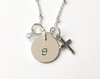 """Initial """"Sandy"""" with Cross & Stone"""