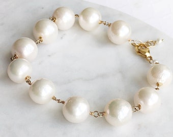 White and Gold Pearl Bracelet