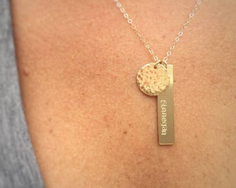 """Vera"" Name Necklace & Hammered Circle"