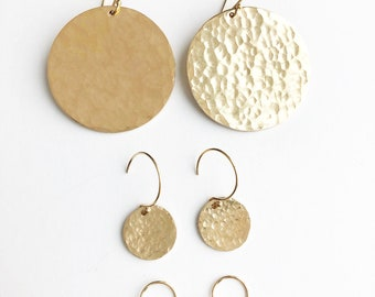 Hammered Disc Earrings, 3 sizes
