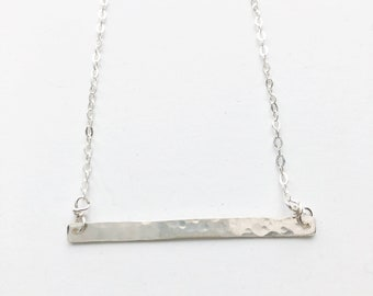 Hammered Silver Bar Necklace