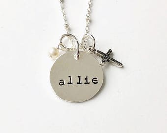 Silver Name & Cross Necklace