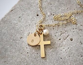 Girls Gold Cross & Initial