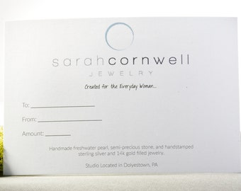 Gift Card for Sarah Cornwell Jewelry, Gift Card, Gift Card for Jewelry, Gift Card for Custom Jewelry, Custom Jewelry Design, Personalized