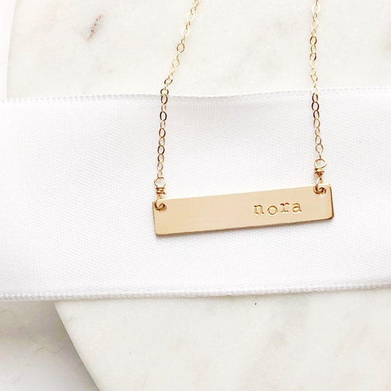 14k Gold Initial Bar Necklace