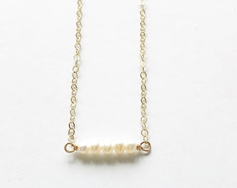 Petite Pearl Necklace, Tiny Pearl Necklace, Gold Pearl Necklace, Layering Pearl Necklace, Freshwater Pearl Necklace, Boho Pearl Necklace