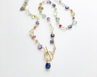 Front Toggle Gemstone Necklace, Colorful Beaded Necklace with Semi Precious Gemstones, Fine Jewelry, Sarah Cornwell Jewelry