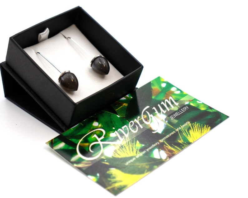 Blossom Drop Earrings Handmade by RiverGum Jewellery Grey Moonstone Earrings