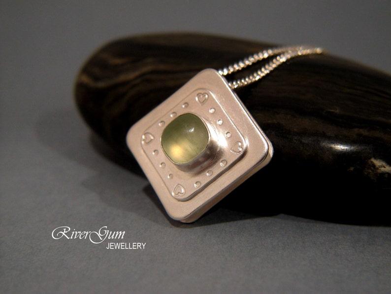 Sterling Silver Green Prehnite Pendant Handmade by RiverGum Jewellery Sliding Gemstone Pendant