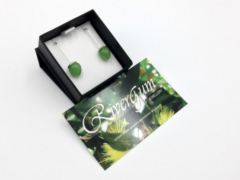 Handmade by RiverGum Jewellery Green Chalcedony Earrings Lime Green Blossom Drop Earrings