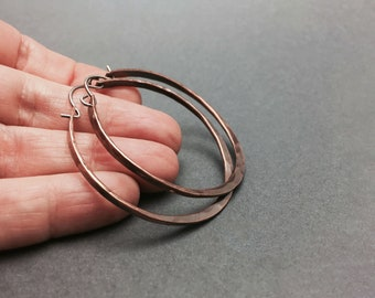 Large Copper Hoop Earrings, 12 Gauge Copper Wire, Copper Earring Hoops, Hammered Hoops, Available in Three Sizes