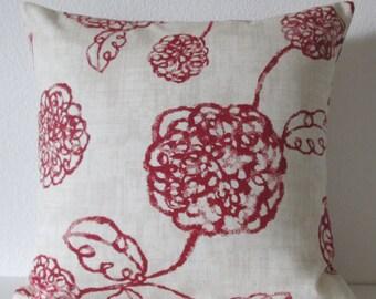 Pillow Cover - Adele Crimson botanical print - Cushion Cover