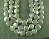 WHITE COIN Pearls, 13-14 mm Diameter, 5 mm thick , Gorgeous Iridescent , Horizontal Drill, 6 Pearls (P018)