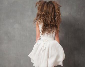 Odessa short wedding dress, wrap wedding dress, white silk wedding dress, white wedding dress, circular skirt wedding dress