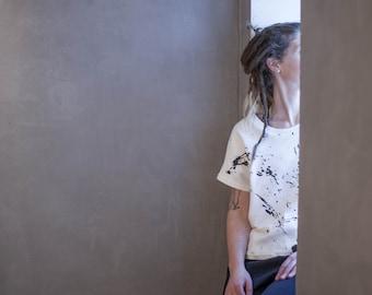 Black splattered jersey top, boho, splatter print, minimalist, eco friendly, sustainable, eco fashion, slow fashion, asymmetric