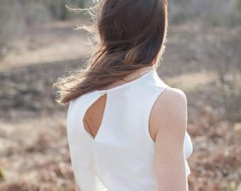 Alva two-piece loose fitted wedding dress, silk, bohemian, flare, zen, summer, wedding skirt, wedding top, made to order