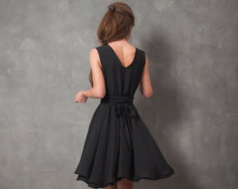 Odessa black wrap dress, little black dress, circular skirt dress, dress with belt, wrap around dress