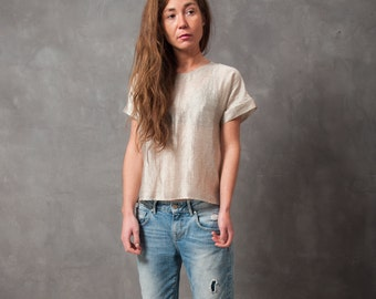 one of a kind woven gold top - woven t-shirt with fold-up sleeves